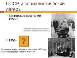 Венгерское восстание 1956 г. 1955 - СССР и социалистический лагерь Символ Вен