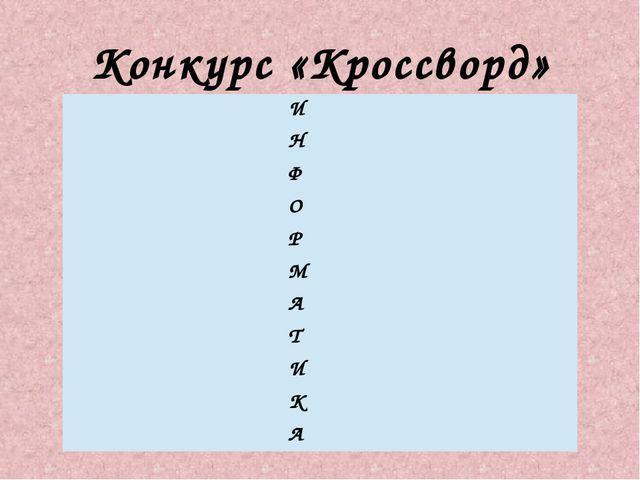Конкурс «Кроссворд» И Н Ф О Р М А Т И К А