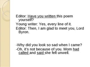 Editor: Have you written this poem yourself? Yo