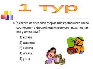 6. У какого из этих слов форма множественного числа соотносится с формой един