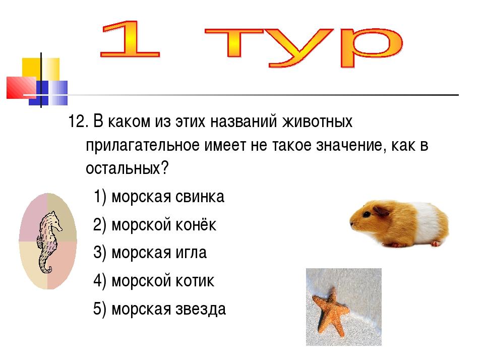12. В каком из этих названий животных прилагательное имеет не такое значение,...