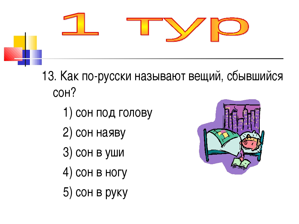 13. Как по-русски называют вещий, сбывшийся сон? 1) сон под голову 2) сон ная...