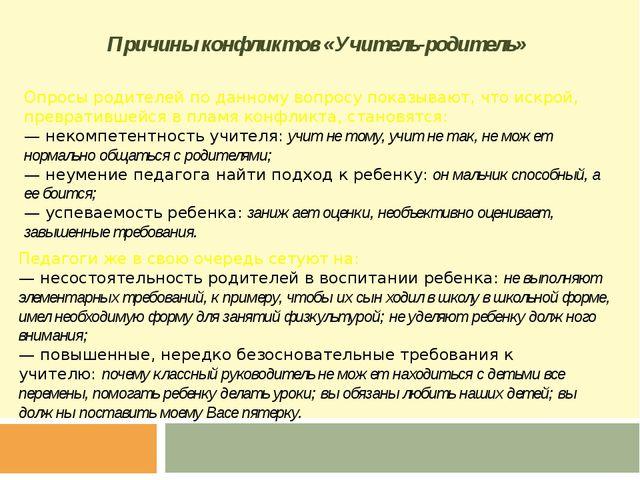 Причины конфликтов «Учитель-родитель» Опросы родителей по данному вопросу пок...