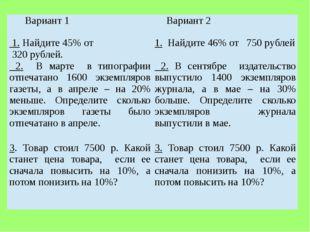 Вариант 1 Вариант 2 1.Найдите 45% от 320рублей. 1.Найдите 46% от750рублей 2.В