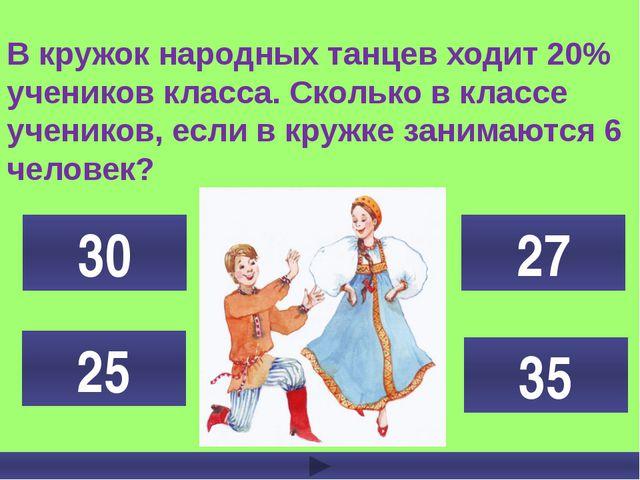 В кружок народных танцев ходит 20% учеников класса. Сколько в классе учеников...