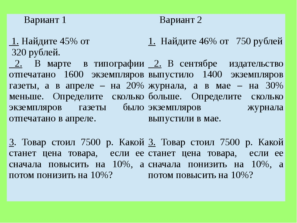 Вариант 1 Вариант 2 1.Найдите 45% от 320рублей. 1.Найдите 46% от750рублей 2.В...