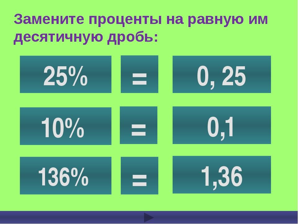Замените проценты на равную им десятичную дробь: 25% 10% 136% 0, 25 0,1 1,36...