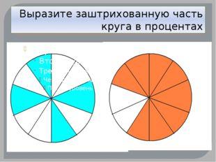 Заштрихуйте указанную часть круга
