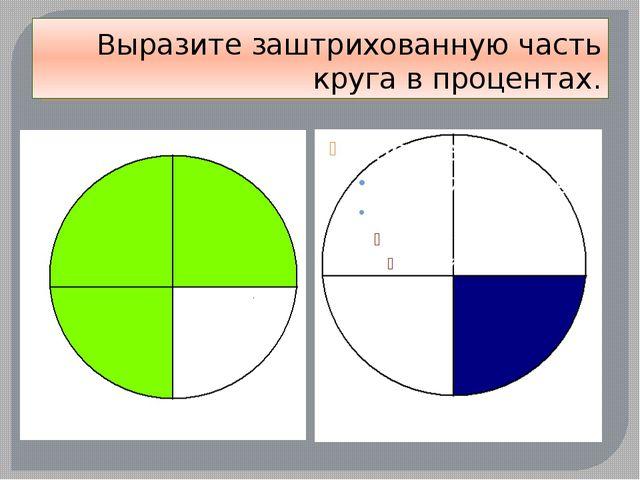 Выразите заштрихованную часть круга в процентах.