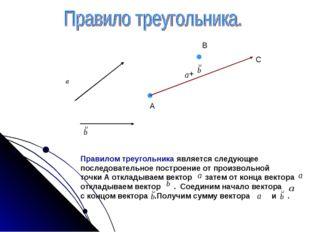 А В С + Правилом треугольника является следующее последовательное построение