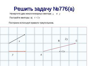 Решить задачу №776(а) Начертите два неколлинеарных вектора и Постройте вектор