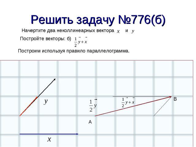 Решить задачу №776(б) Начертите два неколлинеарных вектора и Постройте вектор...
