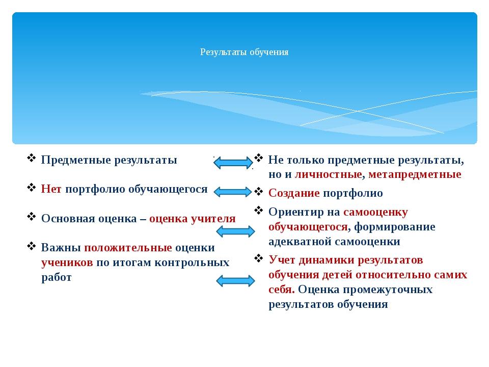 Результаты обучения Предметные результаты Нет портфолио обучающегося Основна...