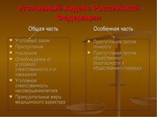 Уголовный кодекс Российской Федерации Уголовный закон Преступление Наказание