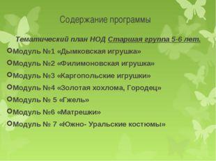 Содержание программы Тематический план НОД Старшая группа 5-6 лет. Модуль №1