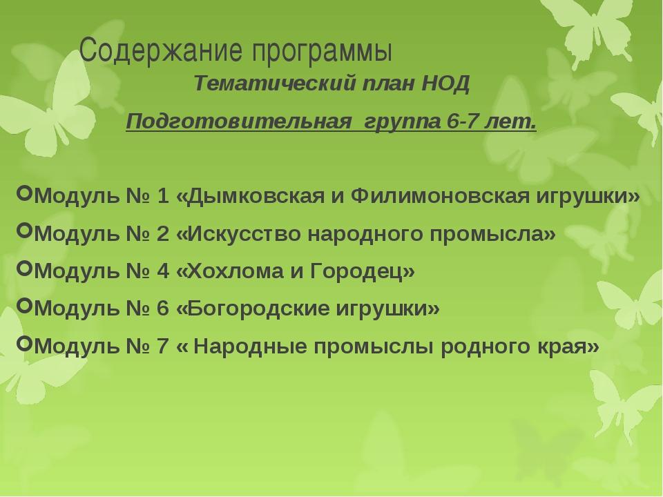 Содержание программы Тематический план НОД Подготовительная группа 6-7 лет....
