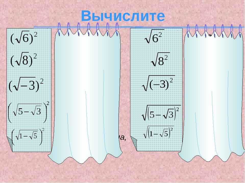 Вычислите - не имеет смысла =6 =8 =6 =8 =I-3I=3 не имеет смысла, т. к.