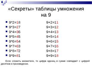 «Секреты» таблицы умножения на 9 9*2=18 9+2=11 9*3=27 9+3=12 9*4=36 9+4=13 9*