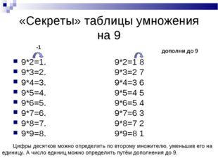 «Секреты» таблицы умножения на 9 9*2=1. 9*2=1 8 9*3=2. 9*3=2 7 9*4=3. 9*4=3 6