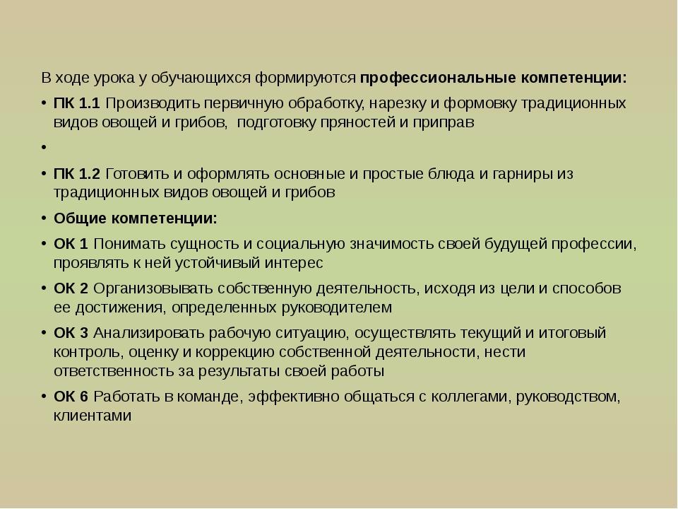 В ходе урока у обучающихся формируются профессиональные компетенции: ПК 1.1 П...
