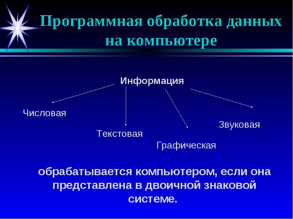 Программная обработка данных на компьютере Информация Числовая Текстовая Граф...