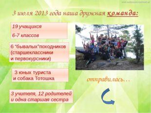 3 июля 2013 года наша дружная команда: 19 учащихся 6-7 классов 3 учителя, 12