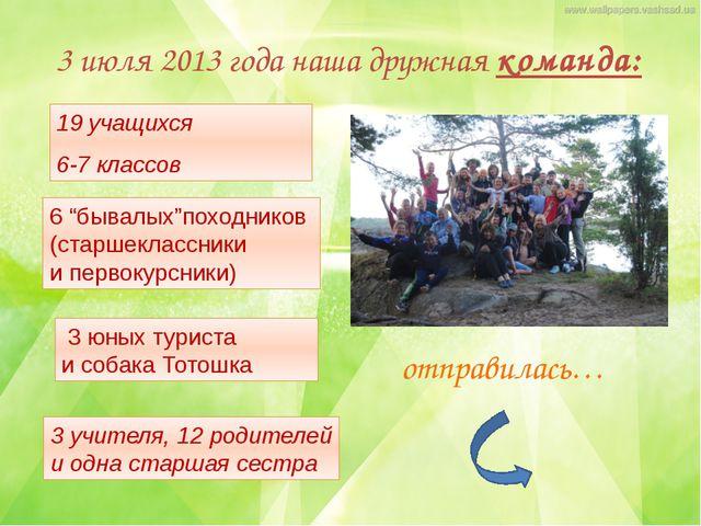 3 июля 2013 года наша дружная команда: 19 учащихся 6-7 классов 3 учителя, 12...