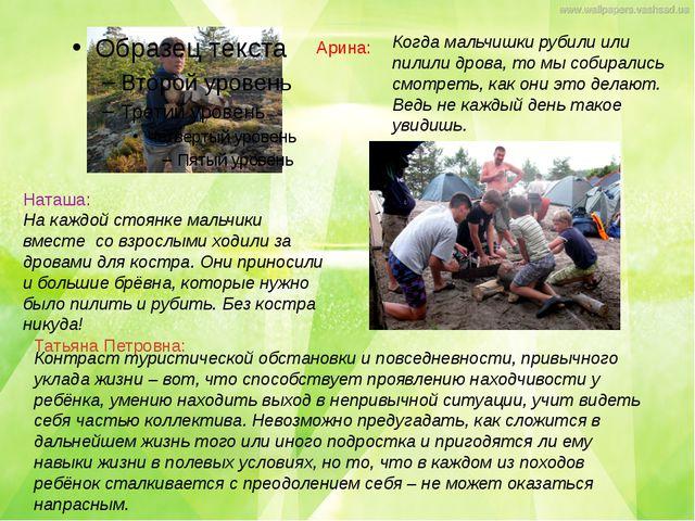 Наташа: На каждой стоянке мальчики вместе со взрослыми ходили за дровами для...