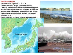 Японское море Наибольшая глубина— 3742м. Северная часть моря зимой замерзае
