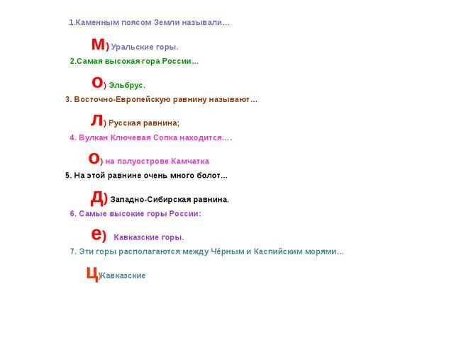 1.Каменным поясом Земли называли… м) Уральские горы. 2.Самая высокая гора Ро...