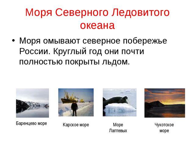 Моря Северного Ледовитого океана Моря омывают северное побережье России. Круг...