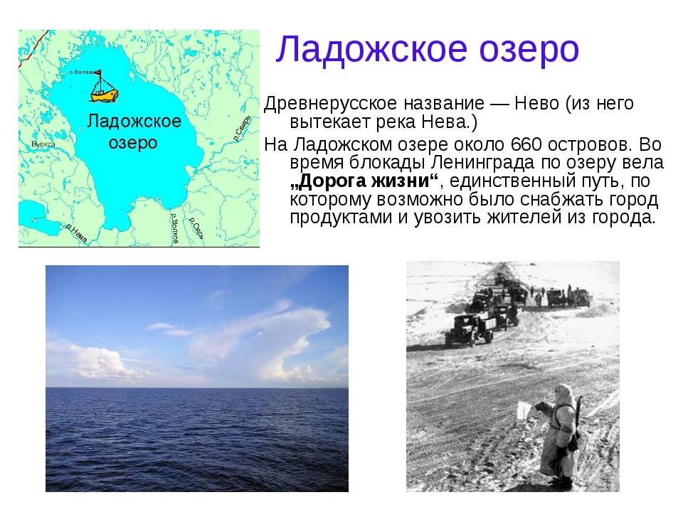 Ладожское озеро Древнерусское название — Нево (из него вытекает река Нева.) Н...