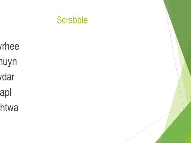 Scrabble wrhee fnuyn wdar yapl chtwa