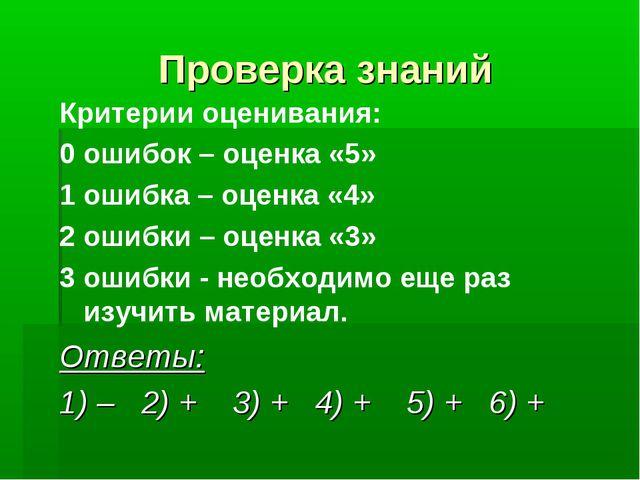 Проверка знаний Критерии оценивания: 0 ошибок – оценка «5» 1 ошибка – оценка...