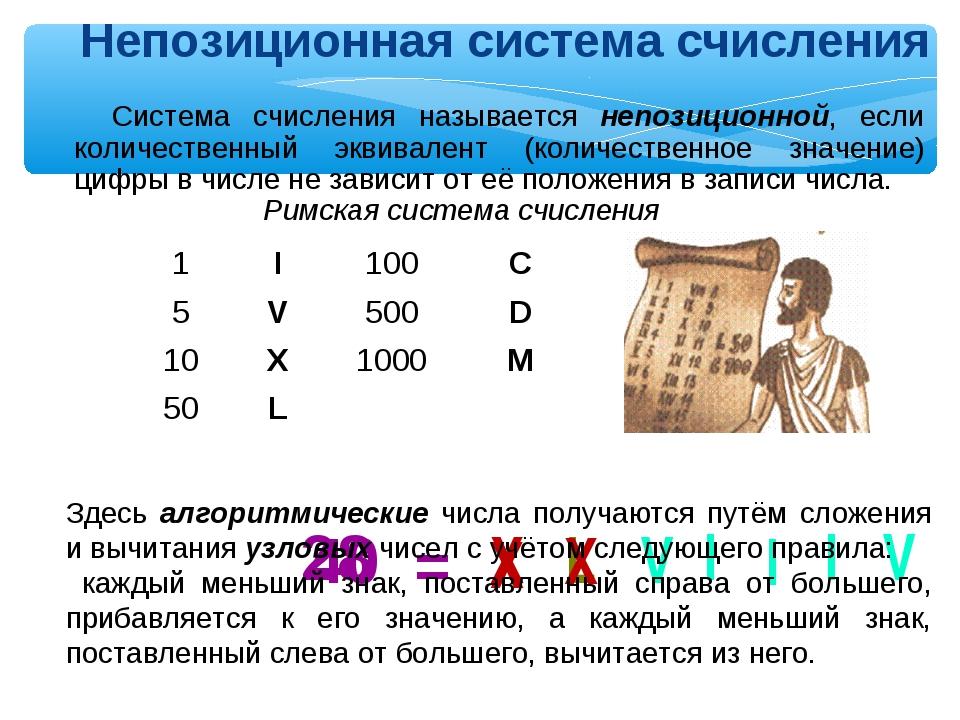 Римская система счисления 40 = X L 28 X X V I I I V Непозиционная система счи...