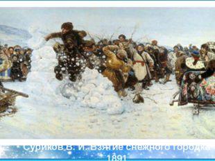 Суриков В. И. Взятие снежного городка 1891