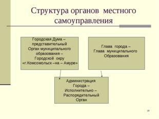 * Структура органов местного самоуправления Городская Дума – представительный