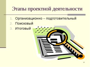 * Этапы проектной деятельности Организационно – подготовительный Поисковый Ит