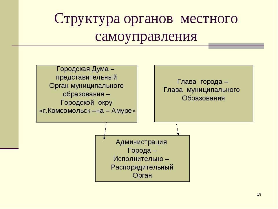 * Структура органов местного самоуправления Городская Дума – представительный...