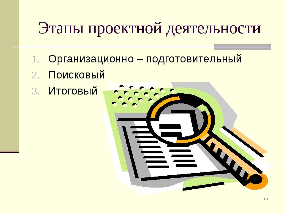 * Этапы проектной деятельности Организационно – подготовительный Поисковый Ит...