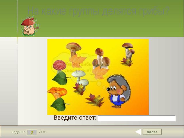 Далее 2 Задание 2 бал. Введите ответ: На какие группы делятся грибы?