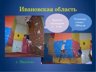 Ивановская область г. Иваново Площадь стены- 180кв.м Высота скалодрома – 6.2м.