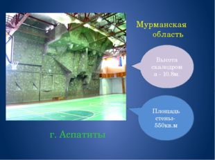 Мурманская область г. Аспатиты Высота скалодрома - 10.8м. Площадь стены- 550