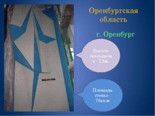 Оренбургская область г. Оренбург Площадь стены- 73кв.м Высота скалодрома - 7.
