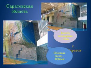 Саратовская область г. Саратов Высота скалодрома – 7.0м. Площадь стены - 130к