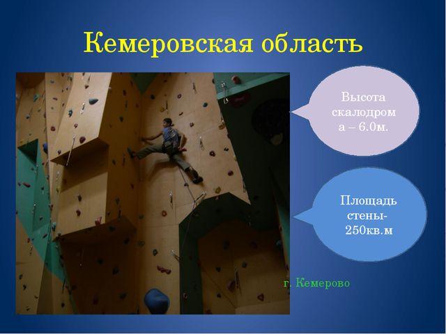 Кемеровская область г. Кемерово Площадь стены- 250кв.м Высота скалодрома – 6....