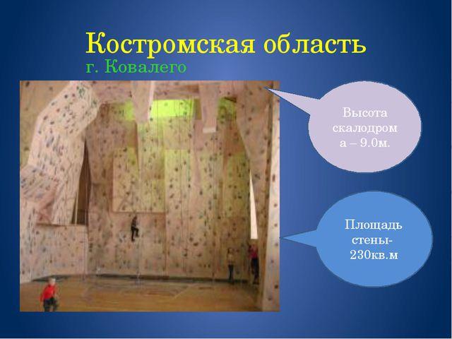 Костромская область г. Ковалего Площадь стены- 230кв.м Высота скалодрома – 9....