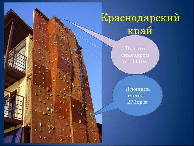 Краснодарский край г. Ейск Площадь стены- 270кв.м Высота скалодрома – 11.0м.