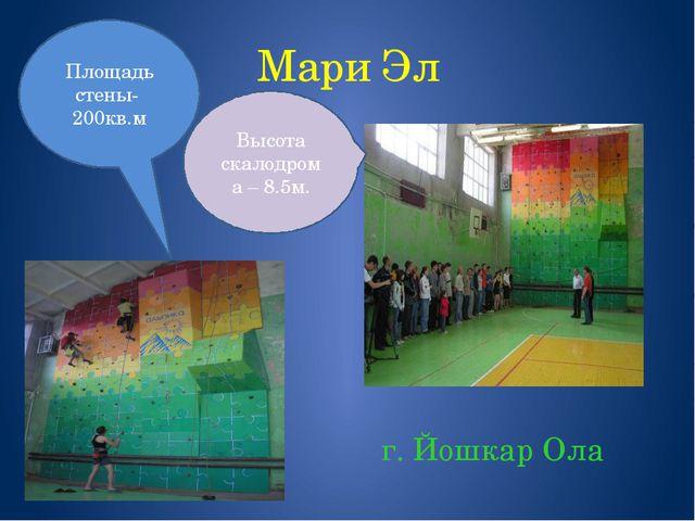 Мари Эл г. Йошкар Ола Площадь стены- 200кв.м Высота скалодрома – 8.5м.