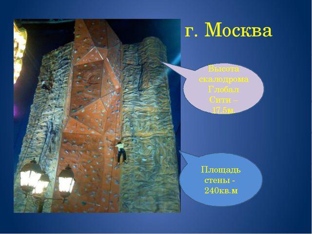 г. Москва Высота скалодрома Глобал Сити – 17.5м. Площадь стены - 240кв.м
